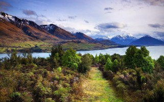Mountains River Way Bushes Sky wallpapers and stock photos