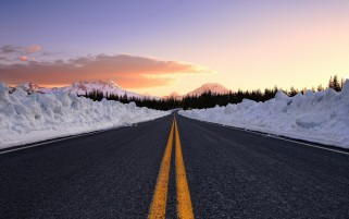 Road Snow Wall Trees Sunset wallpapers and stock photos