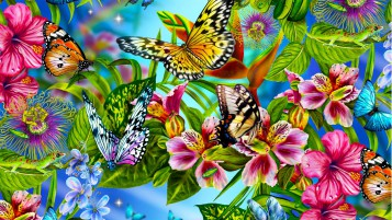 Butterflys & Flower Paradise wallpapers and stock photos