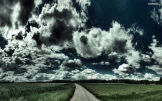 Wheat Field Road & Nice Clouds wallpapers and stock photos