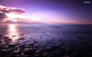 Purple Ocean Stones & Sunset wallpapers and stock photos