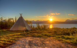 Scenery Tent Sunset River Sky wallpapers and stock photos