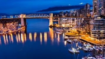 Vancouver Canada Night View wallpapers and stock photos