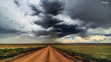 Dirty Road Fields Stormy Sky wallpapers and stock photos