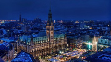 Hamburg Night View wallpapers and stock photos