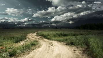 Country Road Grass Stormy Sky wallpapers and stock photos