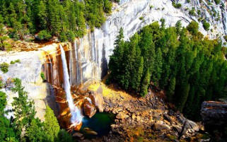 Waterfall Mountain Side Trees wallpapers and stock photos