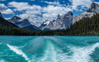 Mountains Forest Blue Lake wallpapers and stock photos