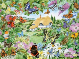 Butterfly Family Garden wallpapers and stock photos