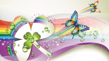 Colorful Butterflys & Clover wallpapers and stock photos