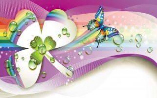 Calico Butterfly & Clover wallpapers and stock photos