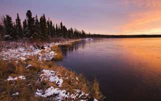 Grass River Snow Trees Sunset wallpapers and stock photos