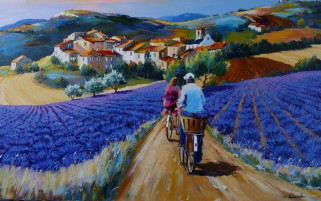People Bikes Lavender Houses wallpapers and stock photos