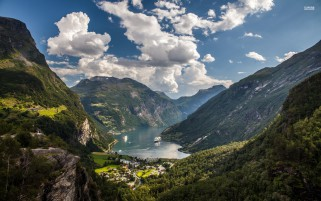 Nice Geiranger Fjord Norway wallpapers and stock photos