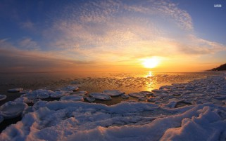 Icy Ocean & Sunset wallpapers and stock photos