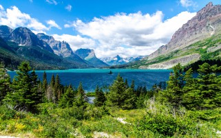 Pretty Saint Mary Lake wallpapers and stock photos