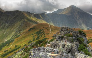 Narrow Trail Mountain Top wallpapers and stock photos