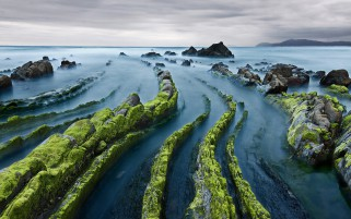 Pretty Mossy Cliffs Ocean Sky wallpapers and stock photos