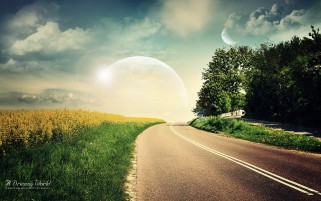 Field Grass Road Trees Planets wallpapers and stock photos