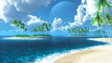 Blue Ocean Palms Beach Clouds wallpapers and stock photos