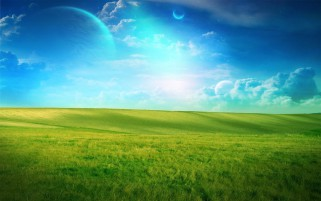 Blue Sky Grass Field Planets wallpapers and stock photos
