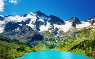 Mountains Scenic & Aqua Lake wallpapers and stock photos