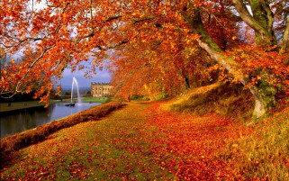 Orange Autumn Fountain Castle wallpapers and stock photos