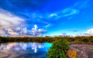 Blue Sky Clouds Lake Scenery wallpapers and stock photos