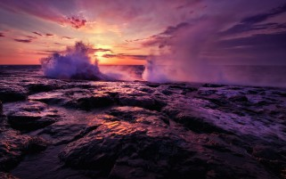 Splashing Waves Rocks & Sunset wallpapers and stock photos
