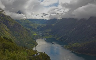 Lovely Geiranger Fjord Norway wallpapers and stock photos