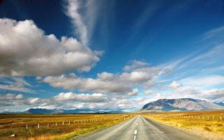 Golden Fields Road Clouds Sky wallpapers and stock photos