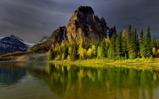 Mountains Trees Lake Reflect wallpapers and stock photos