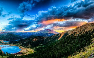 Mountains Forest Lakes Clouds wallpapers and stock photos