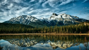 Mountains Forest Lake Canada wallpapers and stock photos
