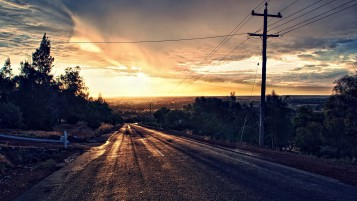 Dark Road Scenery Pole Sunset wallpapers and stock photos