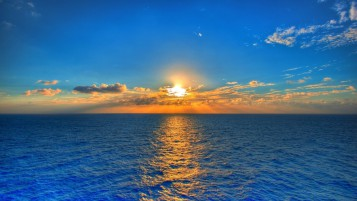 Blue Ocean Orange Sunset Cloud wallpapers and stock photos