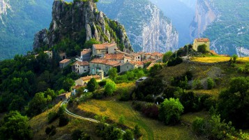 Mountains Trees Houses France wallpapers and stock photos