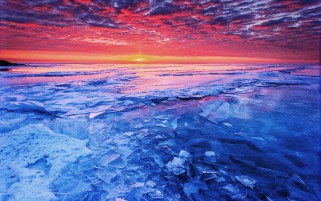 Blue Frozen Lake & Red Sunset wallpapers and stock photos