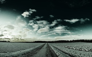 Snowy Fields Road Forest Sky wallpapers and stock photos