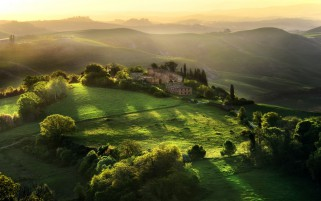 Hills Trees Houses Sky Tuscany wallpapers and stock photos