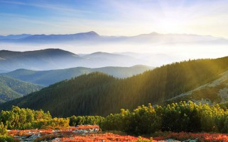 Sunny Mountains Top Look Out wallpapers and stock photos