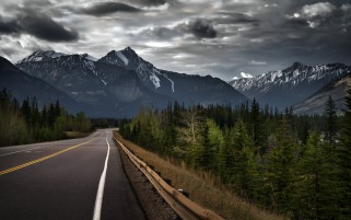 Mountain Road Trees Sky Canada wallpapers and stock photos