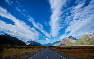 Mountain Way Field New Zealand wallpapers and stock photos