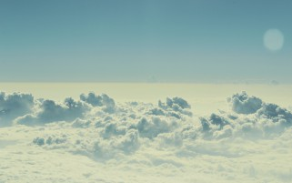 Foggy Sea Of Clouds & Moon wallpapers and stock photos