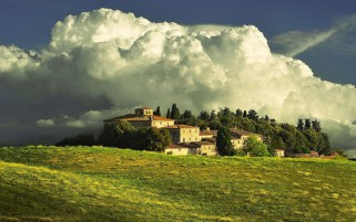Houses Trees Clouds Hill Italy wallpapers and stock photos
