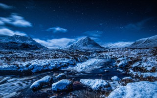 Snow Mountains Creek Rocks Sky wallpapers and stock photos