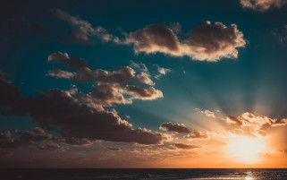 Ocean Gray Cloud Orange Sunset wallpapers and stock photos