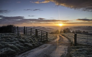 Random: Frosty Field Path Fence Sunset