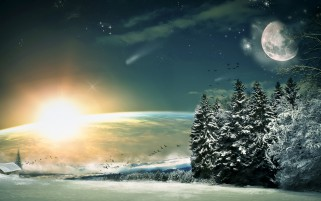 Snowy Trees Field Planets Sun wallpapers and stock photos