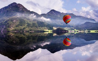Mountains Hot Air Balloon Lake wallpapers and stock photos